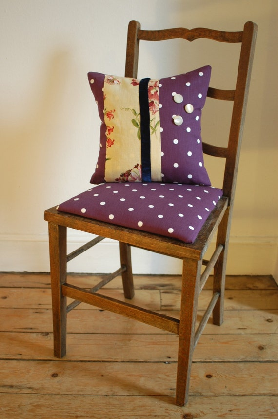 pretty upcycled wooden chair with handmade cushion