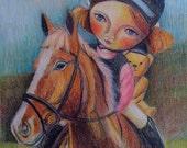 Giclee Print, Girl, Horse, Nursery Art, Portrait, Teddy,Riding Lesson,Childrens Wall Art, Whimsical Girl, Children, Kids Art, Girls Room, A4