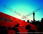 """Las Vegas Downtown Fine Art Digital Photography Print 11 x 14 Original Work by Alexander Amy   """"The Great Oh"""" Alive And Remaining"""