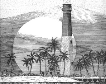 Loggerhead Key Lighthouse - 11 x 14 Matted Print
