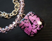 Antique Links Necklace with Glass Foiled Heart Pendant