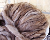 brown and white icelandic wool roving 1 lb.