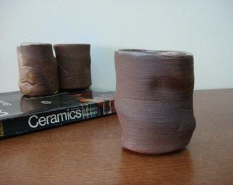 Organic 60s Shape Studio Pottery Mug Woodland Hobbit Style Signed Hudson Numbered 1960s