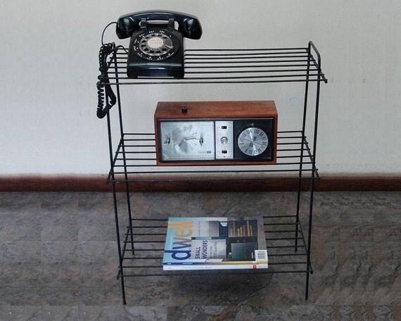 vintage mid century black wire shelves shelving unit 1950s 50s. Black Bedroom Furniture Sets. Home Design Ideas