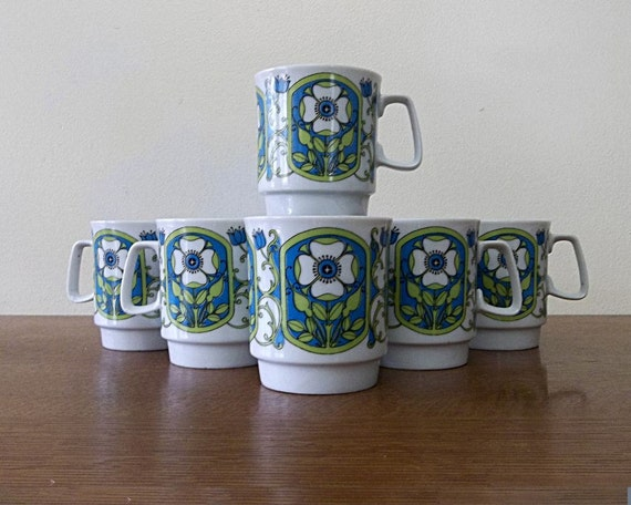 Danish Modern Coffee Mugs Mid Century Vintage Set of 6 With Cup Stand 1950s 1960s