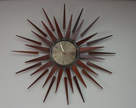 Mid Century Starburst Wall Clock Seth Thomas 1960s Starflower Model