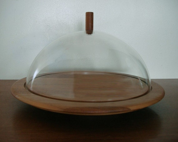 60s Digsmed Denmark Lazy Susan Tray with Cover Teak Wood Denmark Mid Century Danish Modern 1960s Digmed