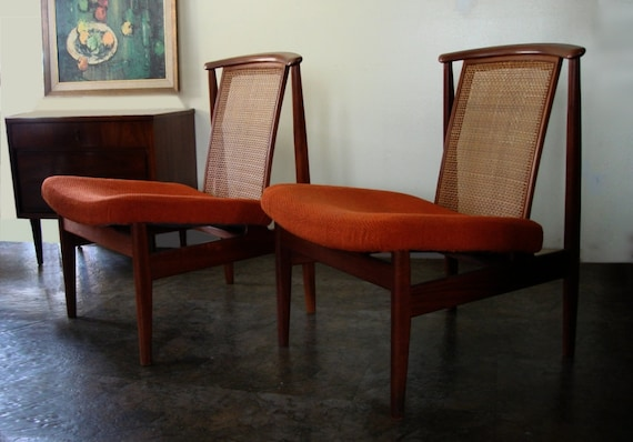 RESERVED Pair of DUX Finn Juhl Danish Modern Teak and Cane Lounge Chairs Orange Upolstered  Vintage
