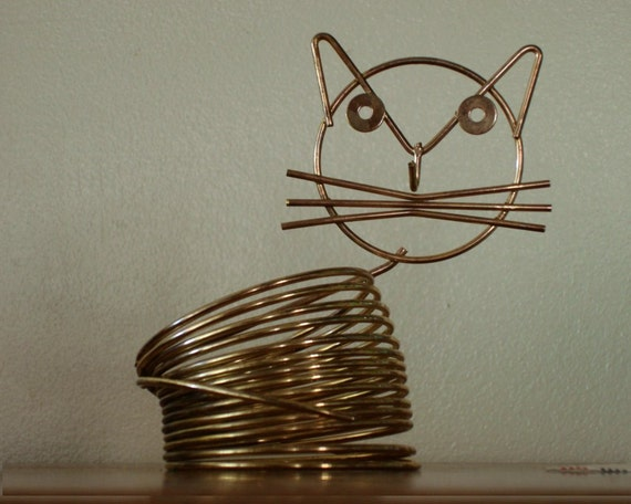 Mid Century Letter Organizer Wire Kitty Cat 1950s Midcentury Design Richard Galef for Ravenware