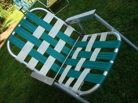 Mid Century Aluminum Folding Lawn Arm Chair Aluminum and Green White Webbing 60s Retro
