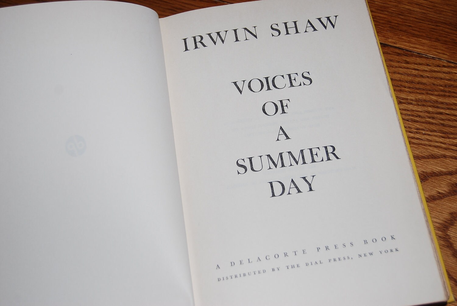 Voices of a Summer Day: A Novel Irwin Shaw