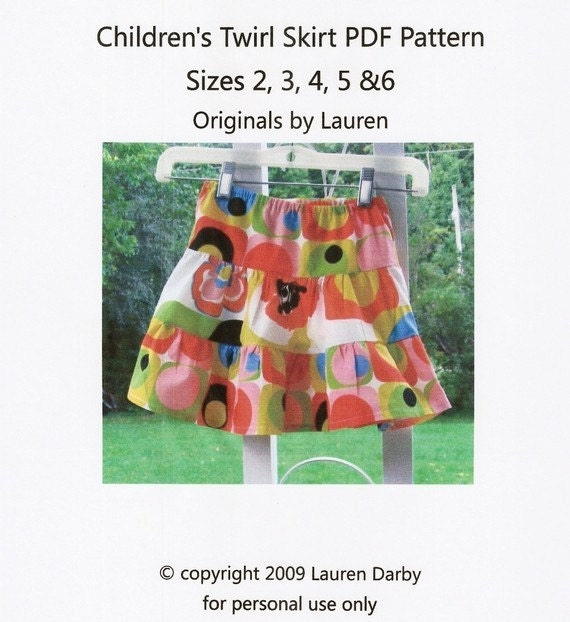 PDF Sewing Pattern Children's Twirl Skirt  Tutorial
