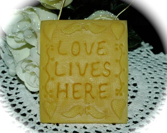 Love Lives Here Plaque Decoration - 100% Beeswax Picture - Wall Decor