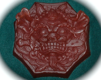 Asian Lion Biting Sword Scented in Dragon's Blood -Vegan Friendly, Vegetable Based Soap - Chinese Dragon Soap - Guardian Lion Soap