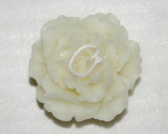 White Peony Beeswax Candle - Pure Beeswax Ruffled Peony Candle
