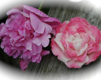 Soap - Peony Soap - Ruffled Peony Goat's Milk Soap - Just Like the Peonies in your Garden ~ Pink and White Peony Soap