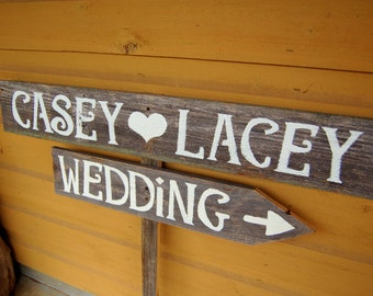 Custom Wedding Signs LARGE FONT Hand painted Signs on Reclaimed Wood. Wedding Road signs on Post