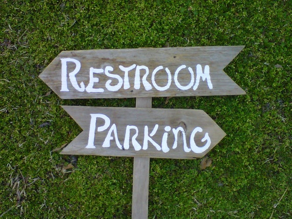Rustic Wedding Signs Restroom Sign. Parking Sign. Say What U Want. FLAG STYLE. Reception Signs Wooden Wedding Sign Eco Bride