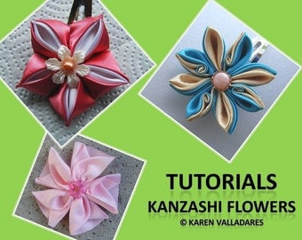 INSTANT DOWNLOAD 3 Kanzashi Flower Tutorials - PDF Hair Accesories Patterns - Fabric Flower Pattern
