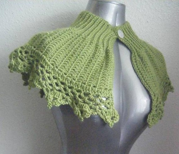 INSTANT DOWNLOAD Green Capelet Shrug Collar Cowl Poncho Shawl or Bolero Crochet Pattern Size S - XL