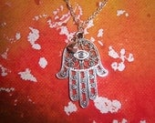 Oxidized Silver Hamsa Necklace