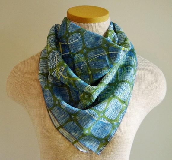 woodblock printed bandanna