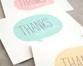 Thank You Cards Set of 6 - Speech Bubble Thanks a Bunch - Pastel Mint, Peachy Pink, Yellow - Wedding, Baby, Bridal Shower, Recycled Cards