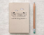 Travel Journal, Recycled Pocket Size Notebook - My Travels & Daring Adventures - Brown with White Clouds - HappyDappyBits