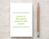 Mini Sketchbook, Recycled Journal - Hand Drawn, Green, Mountains - Back to School, Stocking Stuffer