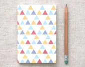 Recycled Mini Journal - Triangles Patterns, Blue, Gold, Red Triangles - Back to School
