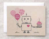 Robot Birthday Card - Pink, Brown, Happy Birthday, Kawaii, Recycled - HappyDappyBits
