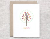 Thank You Card - Paper Cut Linen Recycled Hand Carved Tree - Green, Pink, Orange, Brown
