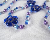 Little Girls Jewelry, Cobalt Blue Flowers Necklace, Swarovski Crystals, Magnetic Clasp