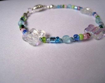Girls Jewelry, Butterfly Bead Blue Bracelet