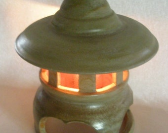 LANTERN Garden Candle Light PAGODA, Pottery for indoor or outdoor, Fern Green glaze #IO 010