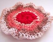 Round Washcloth with Scrubbie Center -- Medium Pot Scrubber Cloth --  Red and Brown