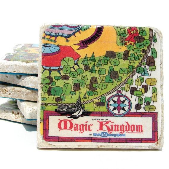 Walt Disney World Vintage Map Coasters - Set of 6