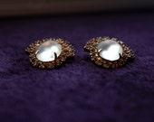 VIntage 1960s Pink Rhinestone Clip On Earrings