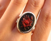 Red Rose Silver Ring