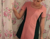 Bubble Gum Pink and Green A-Line Dress