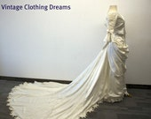 Wedding Dress Ivory NOS Edwardian and Victorian Style New and Unused Ivory Silk Gown 6 Pieces OOAK BR84