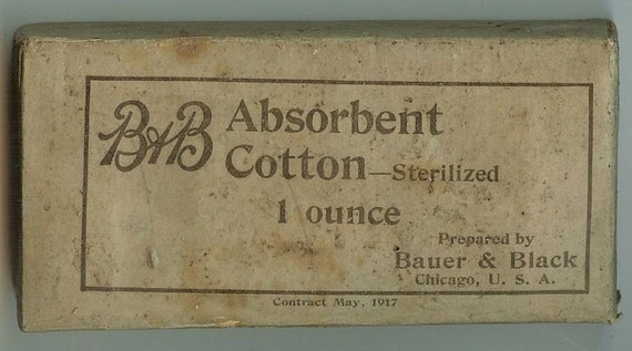 SALE 1917 World War 1 Military Medical Belt Dressing Packet Enlisted Absorbent Cotton RARE NOS 9-14