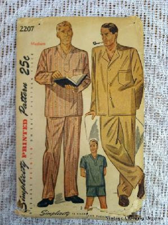 1940's Simplicity Sewing Pattern 2207 Men's Long and Short Pajamas, Medium, COMPLETE 7-79