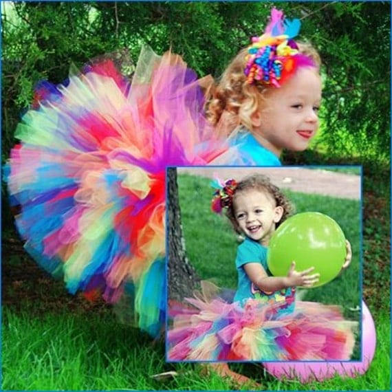 """Tutus """"Lillix Denise"""" Rainbow Tutu  Great for Birthdays, Photography Prop, and Dance"""