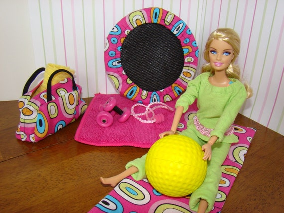 Barbie Furniture - Trampoline and Work-Out Accessories for Fashion Dolls