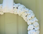 On hold for Chelsea Only... Orders still taken -White Paper Rose Wreath, Shabby Chic