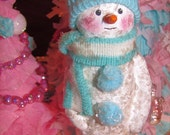 Spring Sale!!!  Snow Boy, Paper mache Shabby Chic Christmas Figure with Blue Hat and Scarf