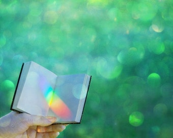Rainbow Book Journal Diary at Emerald Grotto Fine Art Photograph Photo 5 x 5 Square