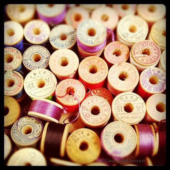 Thread sewing spool photo vintage wooden silk collection Fine Art photograph 8 x 8 square