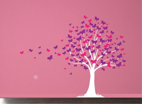 Wall Decal Butterfly Tree Girls Vinyl Wall Art Decal Sticker - Vinyl wall decals butterflies